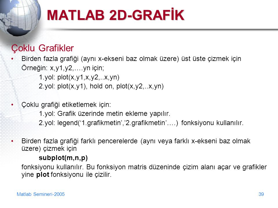 MATLAB 2D-GRAFİK Çoklu Grafikler