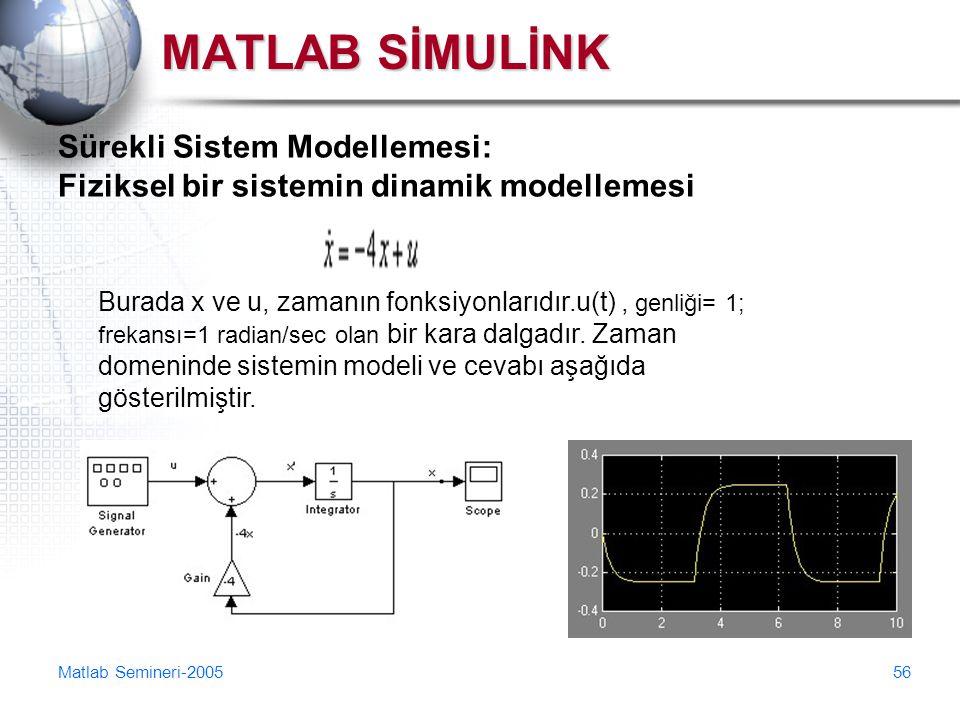 MATLAB SİMULİNK Sürekli Sistem Modellemesi: