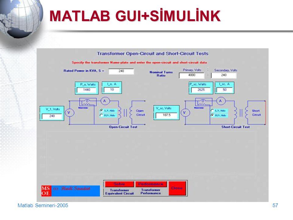 MATLAB GUI+SİMULİNK Matlab Semineri-2005