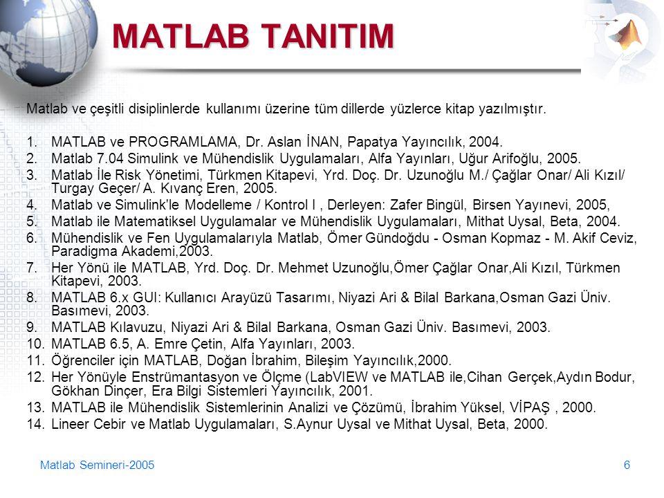 MATLAB TANITIM Matlab ve çeşitli disiplinlerde kullanımı üzerine tüm dillerde yüzlerce kitap yazılmıştır.
