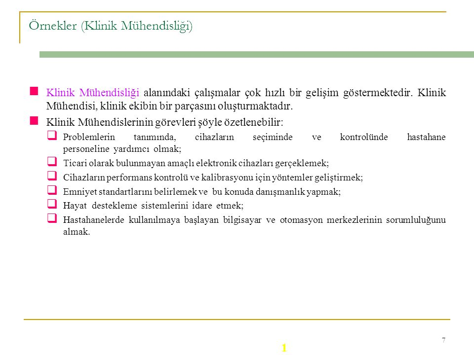Örnekler (Klinik Mühendisliği)