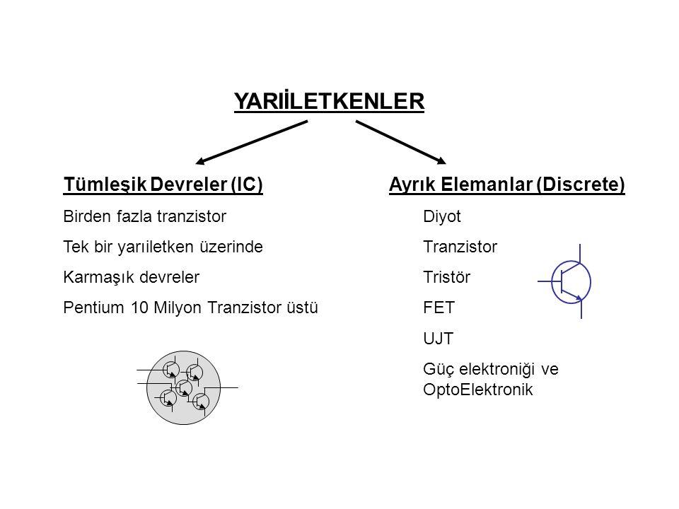 YARIİLETKENLER Tümleşik Devreler (IC) Ayrık Elemanlar (Discrete)
