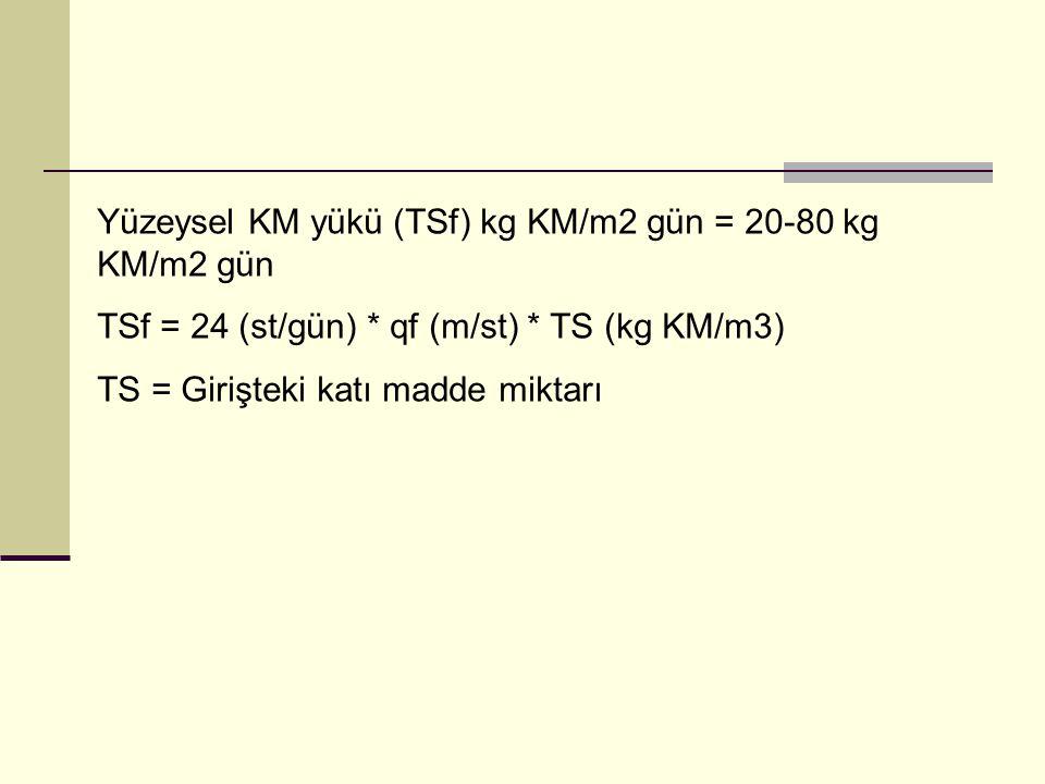 Yüzeysel KM yükü (TSf) kg KM/m2 gün = 20-80 kg KM/m2 gün