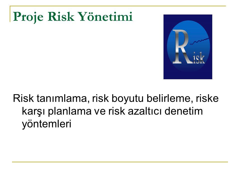 Proje Risk Yönetimi Risk tanımlama, risk boyutu belirleme, riske karşı planlama ve risk azaltıcı denetim yöntemleri.