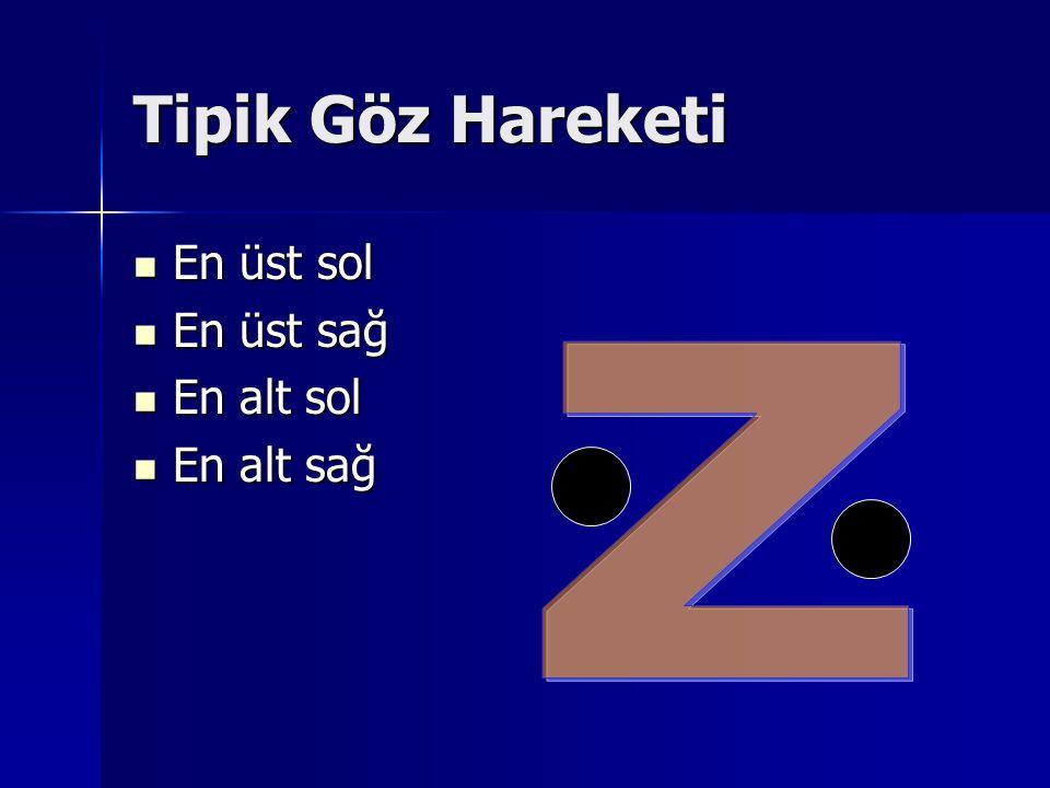 Tipik Göz Hareketi En üst sol En üst sağ En alt sol En alt sağ Z