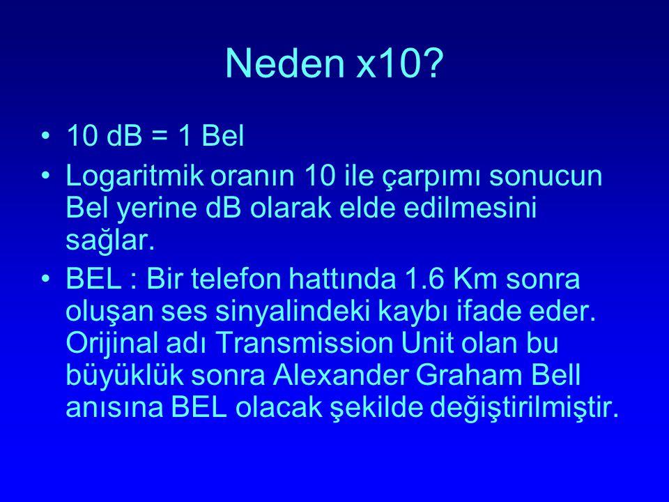 Neden x10 10 dB = 1 Bel. Logaritmik oranın 10 ile çarpımı sonucun Bel yerine dB olarak elde edilmesini sağlar.
