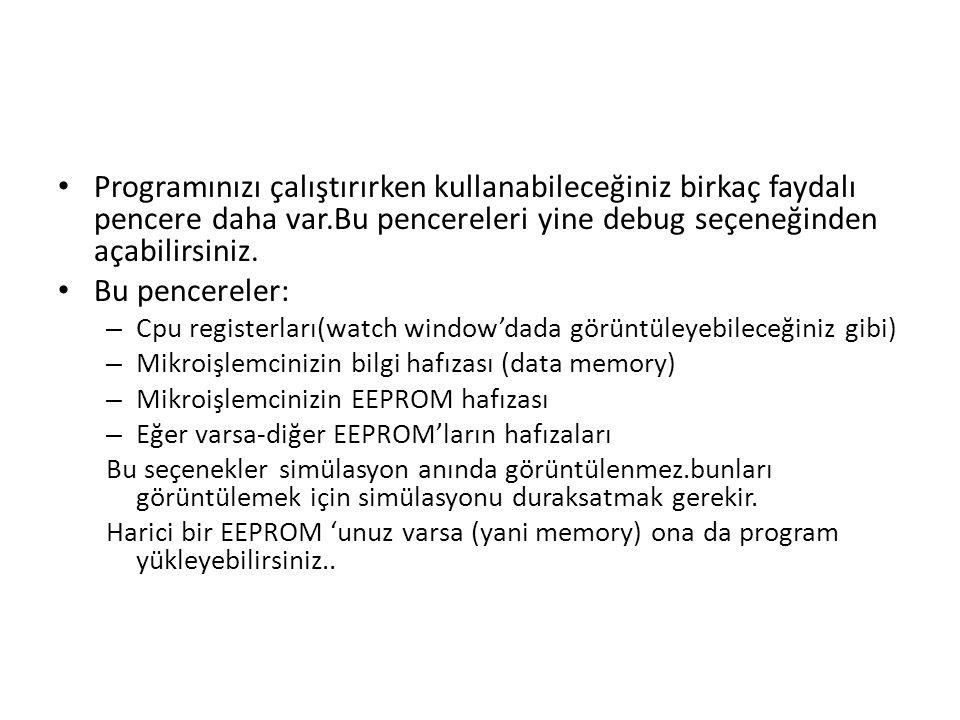 Programınızı çalıştırırken kullanabileceğiniz birkaç faydalı pencere daha var.Bu pencereleri yine debug seçeneğinden açabilirsiniz.