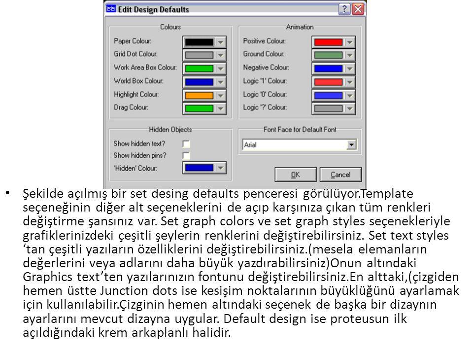 Şekilde açılmış bir set desing defaults penceresi görülüyor