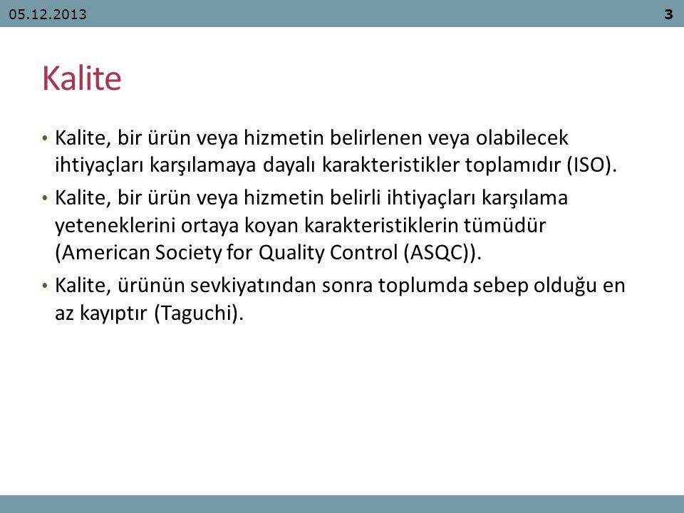 05.12.2013 Kalite. Kalite, bir ürün veya hizmetin belirlenen veya olabilecek ihtiyaçları karşılamaya dayalı karakteristikler toplamıdır (ISO).