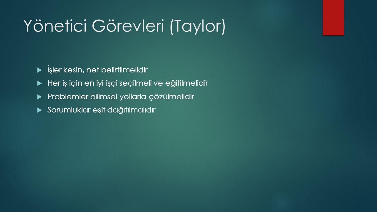Yönetici Görevleri (Taylor)