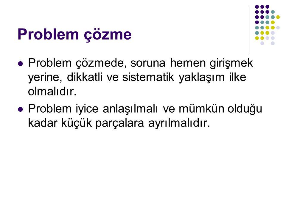Problem çözme Problem çözmede, soruna hemen girişmek yerine, dikkatli ve sistematik yaklaşım ilke olmalıdır.