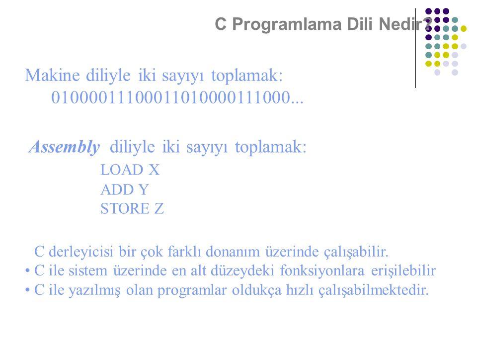 Makine diliyle iki sayıyı toplamak: 01000011100011010000111000...