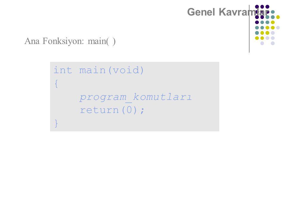int main(void) { program_komutları return(0); } Genel Kavramlar