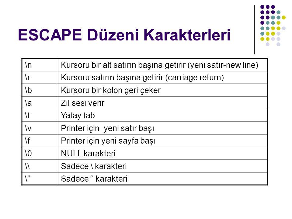 ESCAPE Düzeni Karakterleri