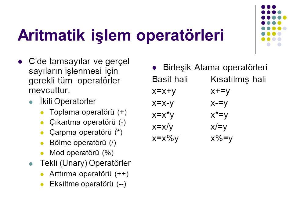 Aritmatik işlem operatörleri