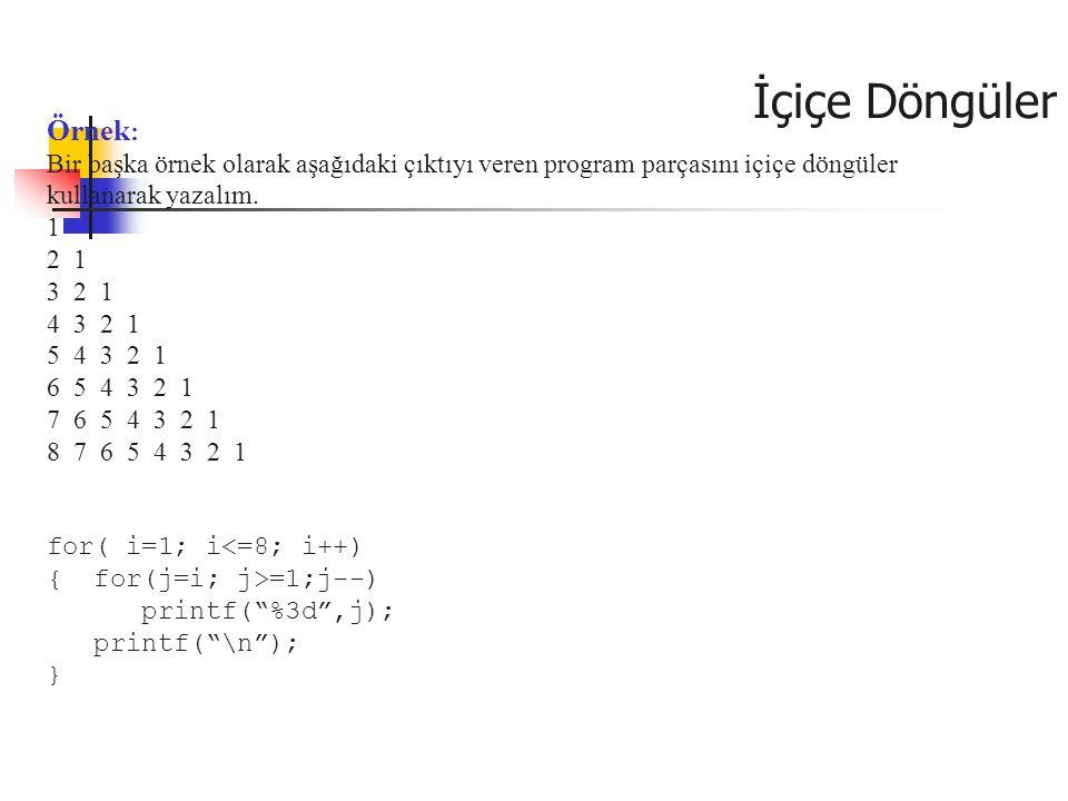 İçiçe Döngüler Örnek: Bir başka örnek olarak aşağıdaki çıktıyı veren program parçasını içiçe döngüler kullanarak yazalım.