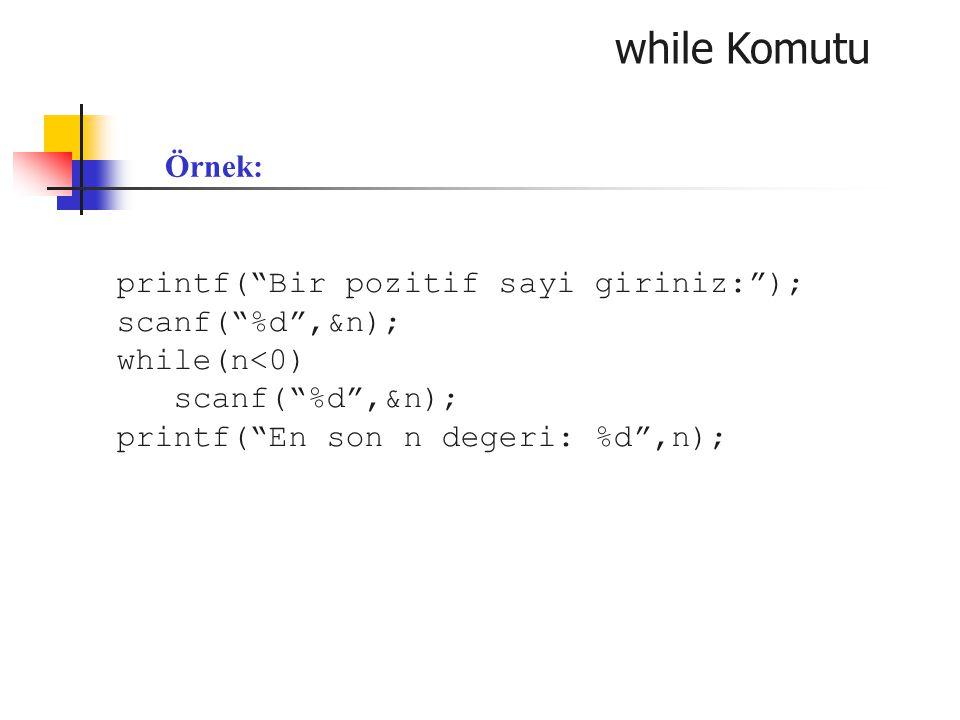 while Komutu Örnek: printf( Bir pozitif sayi giriniz: );