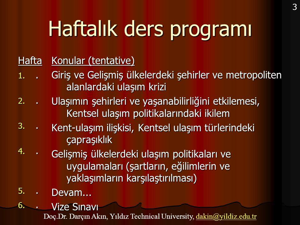 Haftalık ders programı