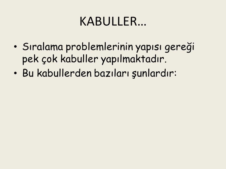 KABULLER… Sıralama problemlerinin yapısı gereği pek çok kabuller yapılmaktadır.