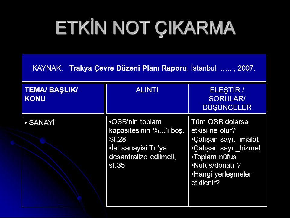 KAYNAK: Trakya Çevre Düzeni Planı Raporu, İstanbul: ….. , 2007.