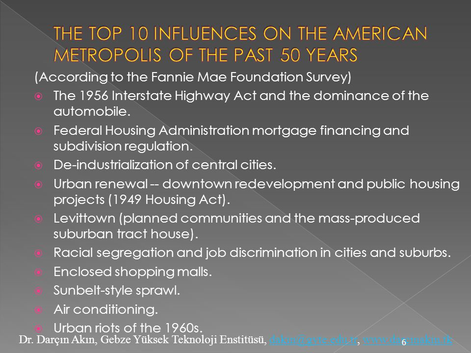 THE TOP 10 INFLUENCES ON THE AMERICAN METROPOLIS OF THE PAST 50 YEARS