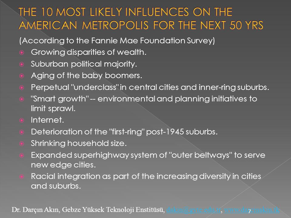 THE 10 MOST LIKELY INFLUENCES ON THE AMERICAN METROPOLIS FOR THE NEXT 50 YRS