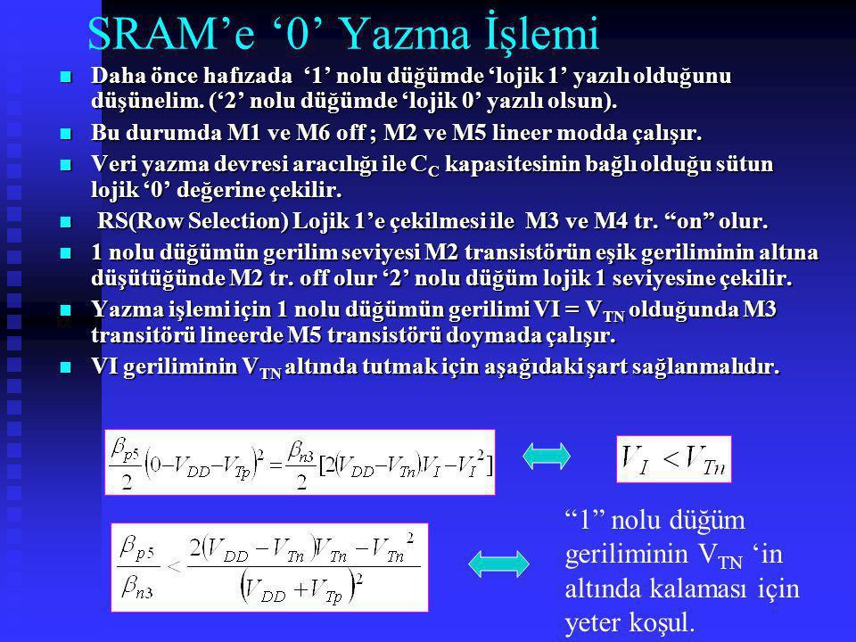SRAM'e '0' Yazma İşlemi Daha önce hafızada '1' nolu düğümde 'lojik 1' yazılı olduğunu düşünelim. ('2' nolu düğümde 'lojik 0' yazılı olsun).