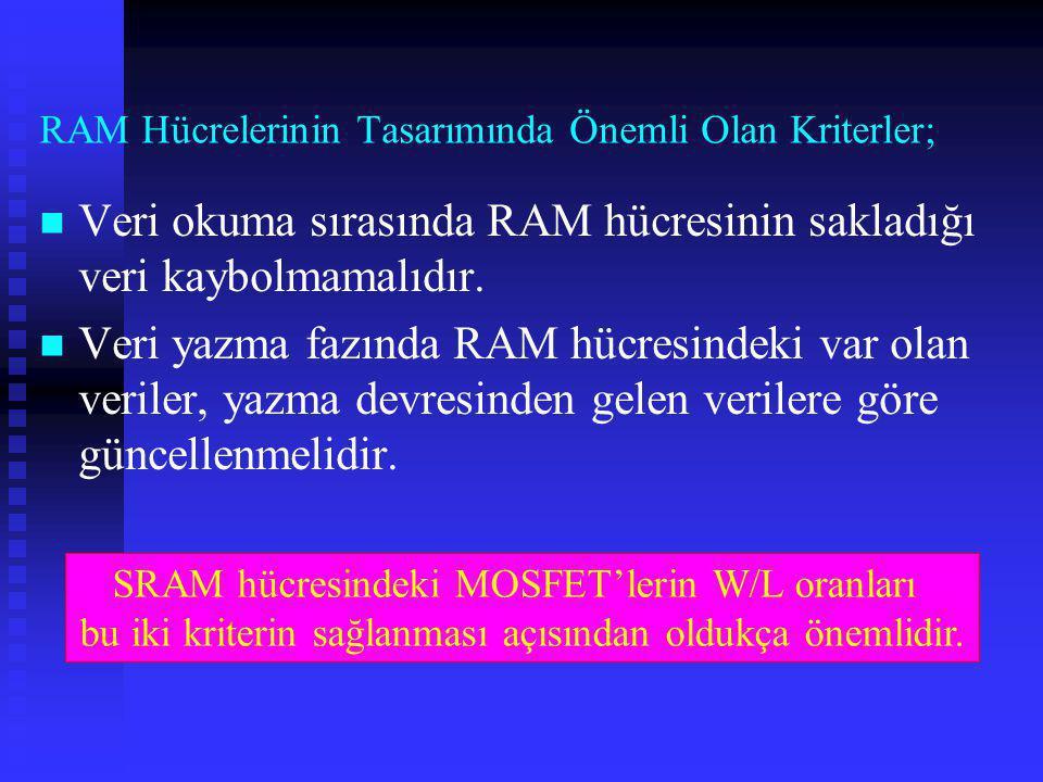 RAM Hücrelerinin Tasarımında Önemli Olan Kriterler;