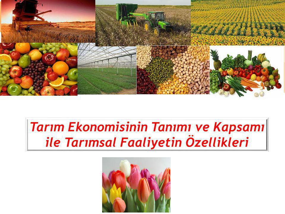 Tarım Ekonomisinin Tanımı ve Kapsamı ile Tarımsal Faaliyetin Özellikleri