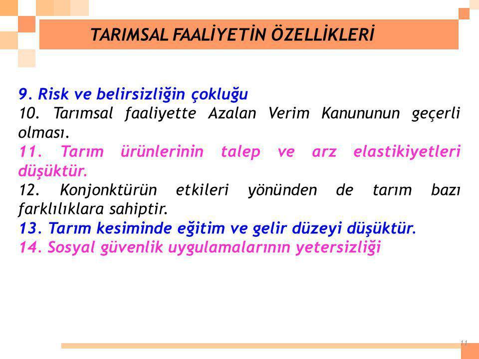 TARIMSAL FAALİYETİN ÖZELLİKLERİ