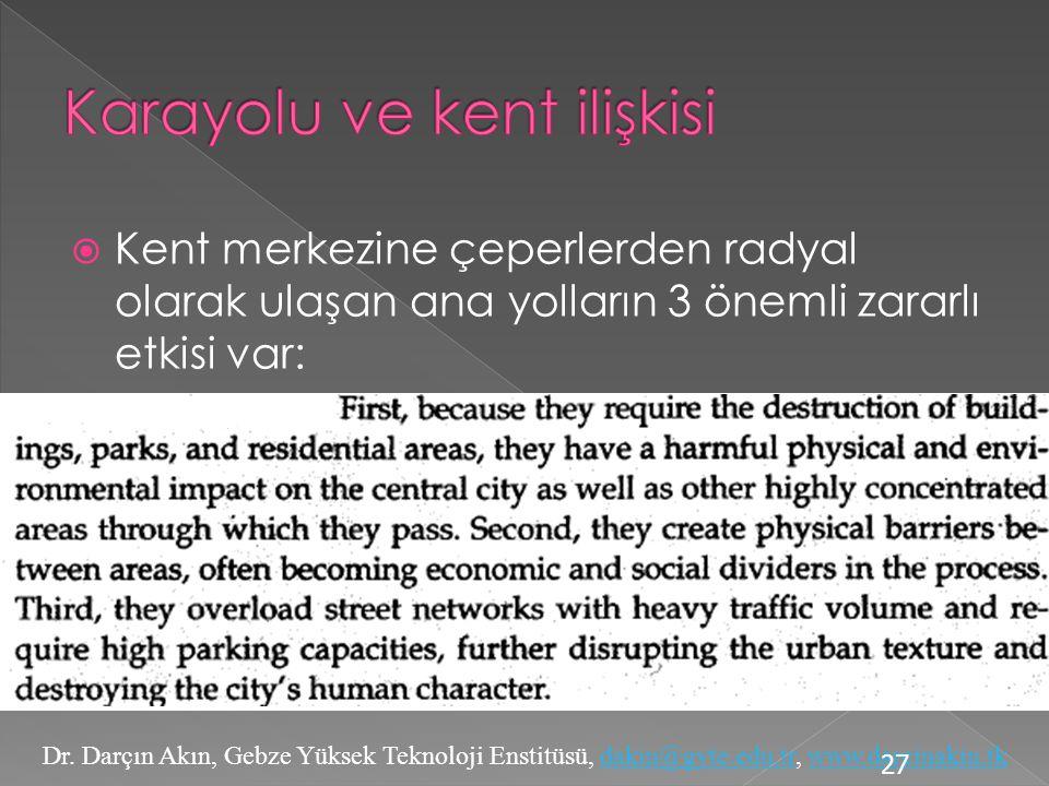 Karayolu ve kent ilişkisi
