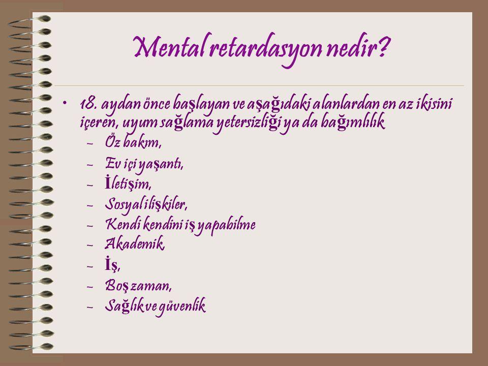 Mental retardasyon nedir