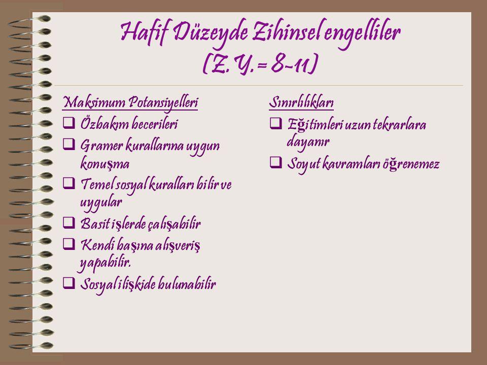 Hafif Düzeyde Zihinsel engelliler (Z.Y.= 8-11)
