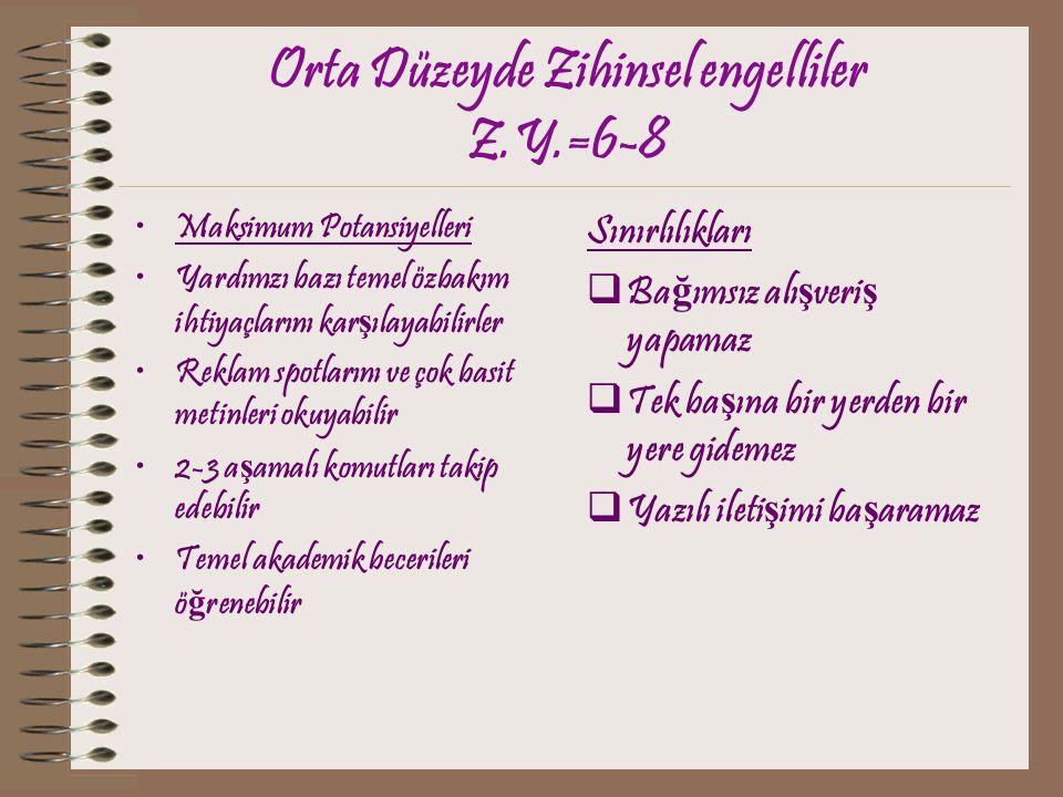 Orta Düzeyde Zihinsel engelliler Z.Y.=6-8