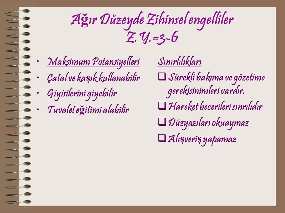 Ağır Düzeyde Zihinsel engelliler Z.Y.=3-6
