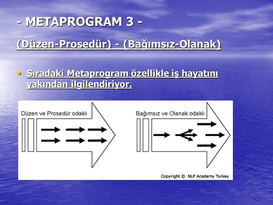 - METAPROGRAM 3 - (Düzen-Prosedür) - (Bağımsız-Olanak)