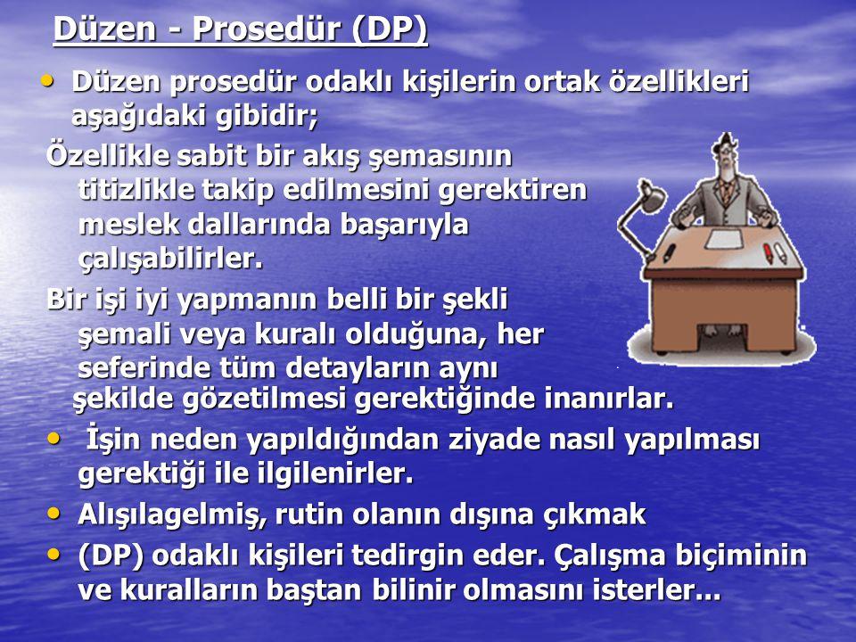 Düzen - Prosedür (DP) Düzen prosedür odaklı kişilerin ortak özellikleri aşağıdaki gibidir;