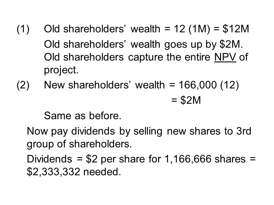 (1) Old shareholders' wealth = 12 (1M) = $12M