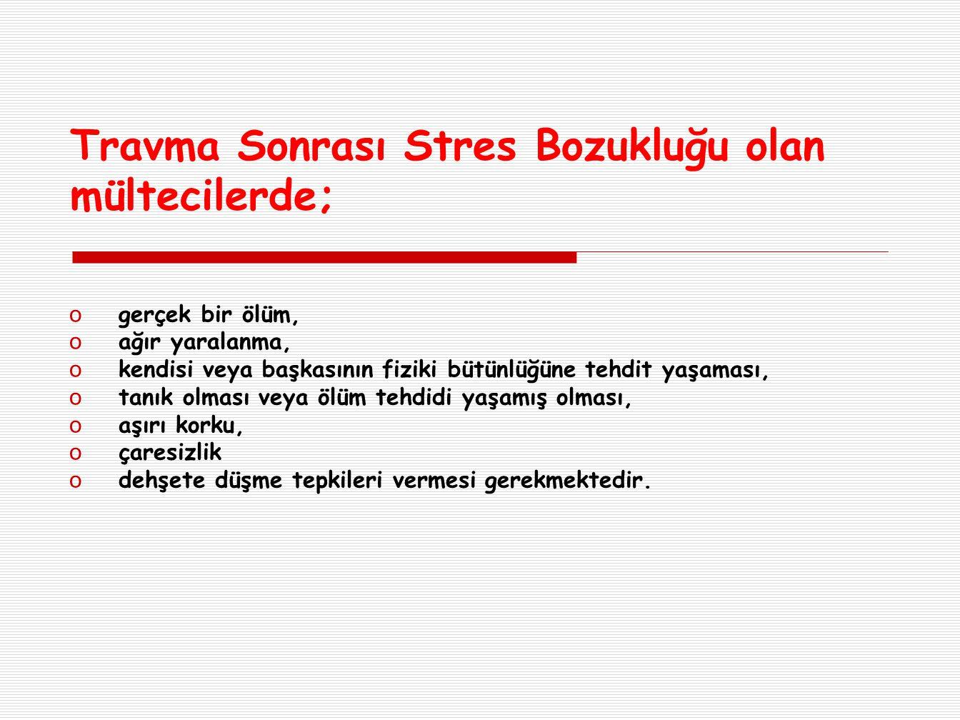 Travma Sonrası Stres Bozukluğu olan mültecilerde;