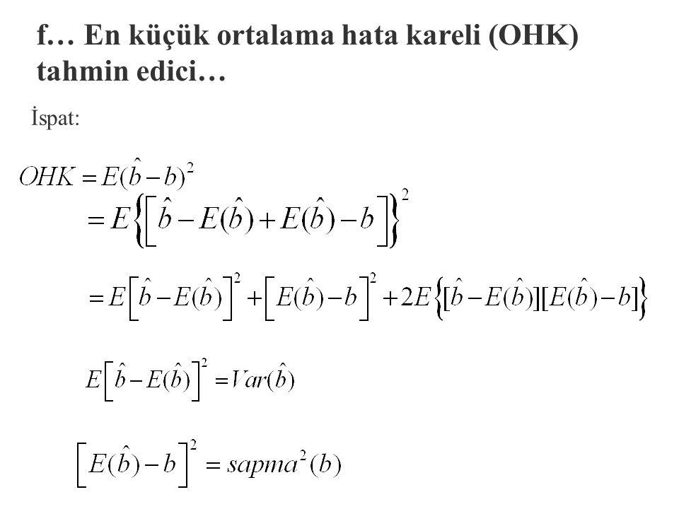 f… En küçük ortalama hata kareli (OHK) tahmin edici…