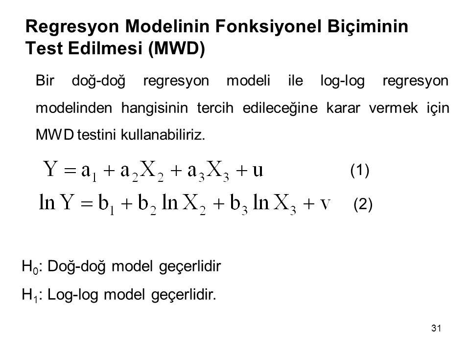 Regresyon Modelinin Fonksiyonel Biçiminin Test Edilmesi (MWD)