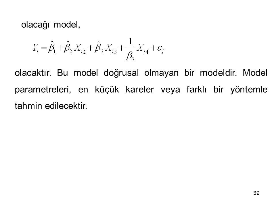 olacağı model, olacaktır. Bu model doğrusal olmayan bir modeldir.