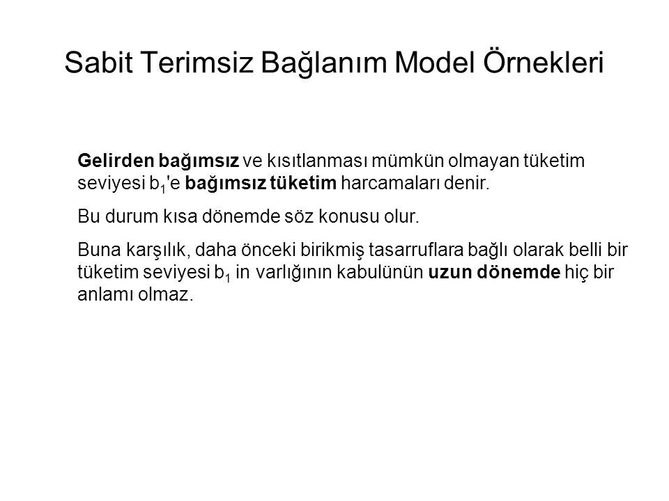 Sabit Terimsiz Bağlanım Model Örnekleri