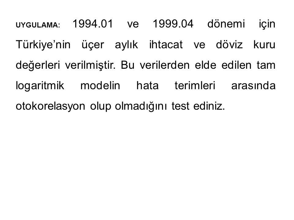 UYGULAMA: 1994.01 ve 1999.04 dönemi için Türkiye'nin üçer aylık ihtacat ve döviz kuru değerleri verilmiştir.
