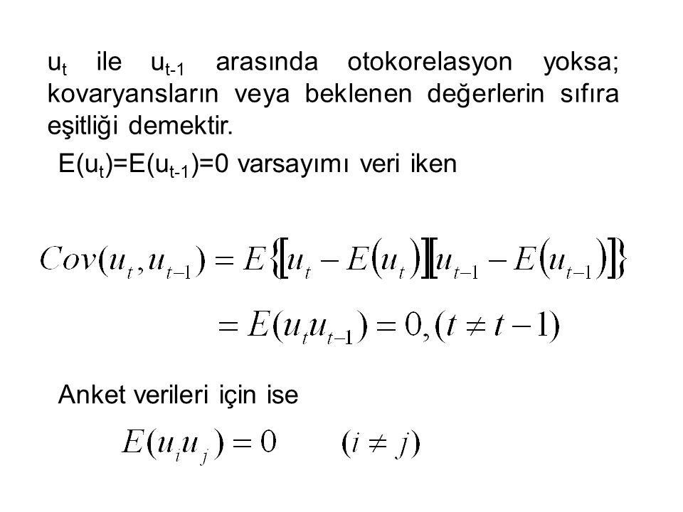 ut ile ut-1 arasında otokorelasyon yoksa; kovaryansların veya beklenen değerlerin sıfıra eşitliği demektir.
