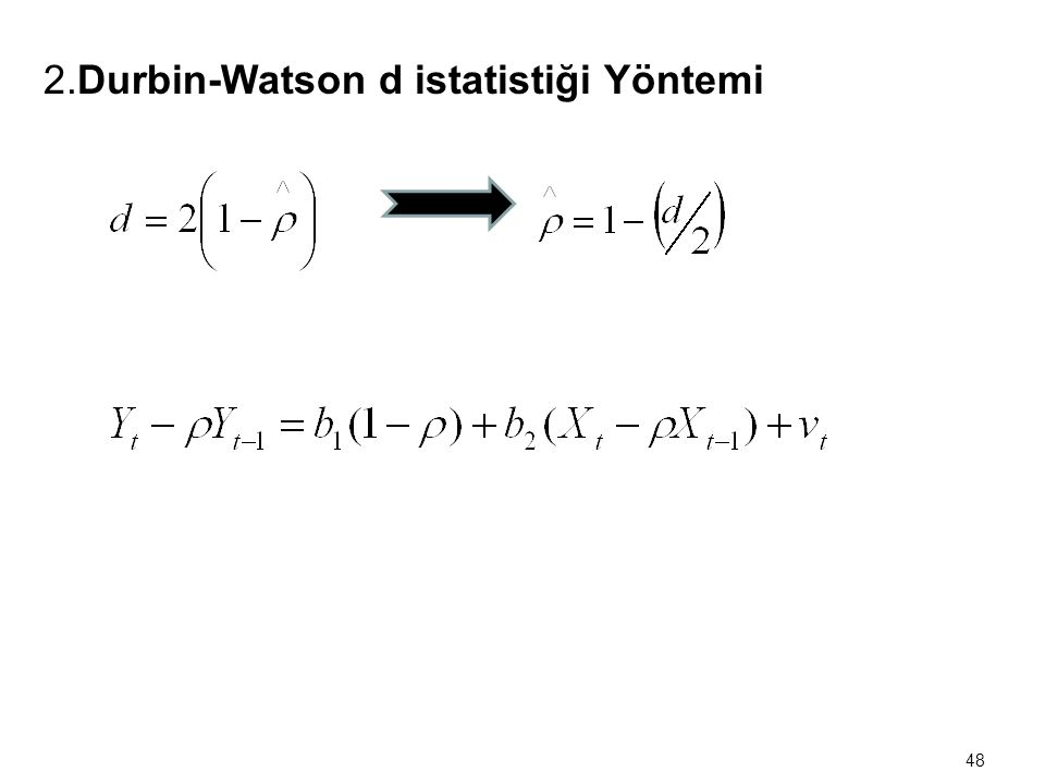 2.Durbin-Watson d istatistiği Yöntemi