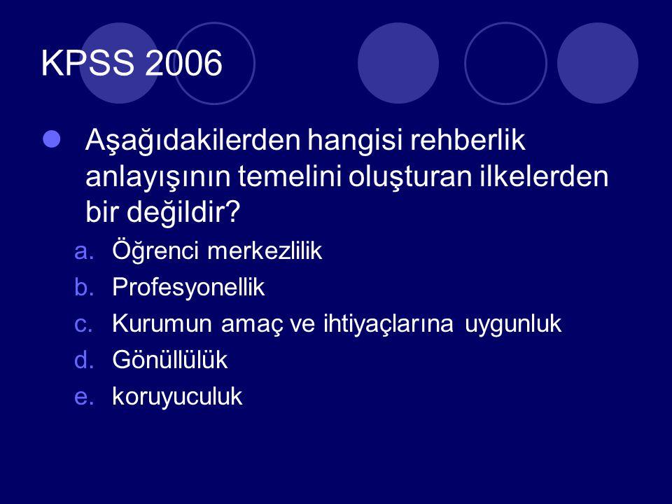 KPSS 2006 Aşağıdakilerden hangisi rehberlik anlayışının temelini oluşturan ilkelerden bir değildir