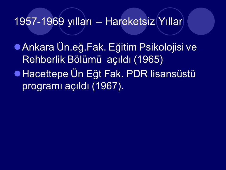 1957-1969 yılları – Hareketsiz Yıllar