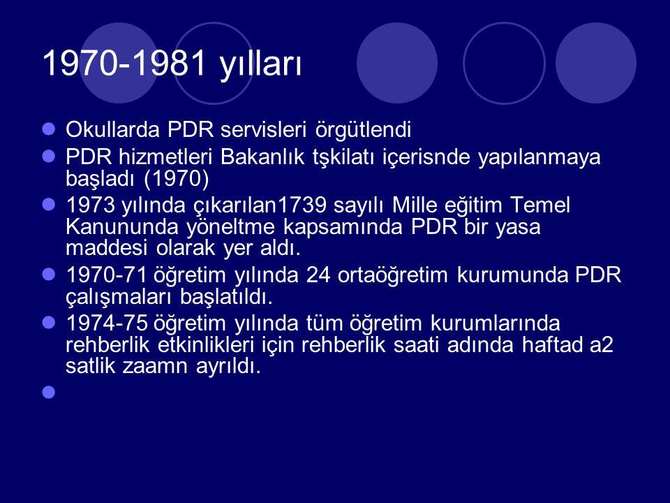 1970-1981 yılları Okullarda PDR servisleri örgütlendi