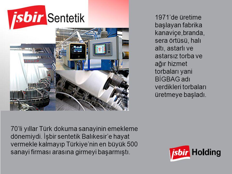 1971'de üretime başlayan fabrika kanaviçe,branda, sera örtüsü, halı altı, astarlı ve astarsız torba ve ağır hizmet torbaları yani BİGBAG adı verdikleri torbaları üretmeye başladı.